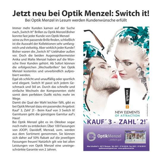 Switch It neue Kollektion bei Optik Menzel in Bremen Lesum