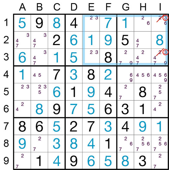 Sudoku Lösungsstrategie Verbotenes Rechteck Typ 4© Rätselbüro Martin Simon