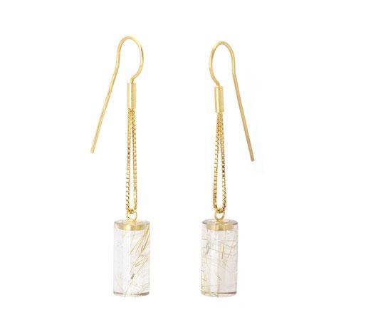 Außergewoehnliche-Ohrringe - Kollektion Golden Inside - Rutilquarz - Gold