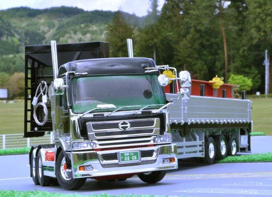 日野スーパードルフィンプロフィア+東急車両バラ緩和3軸トレーラーアルミブロック仕様