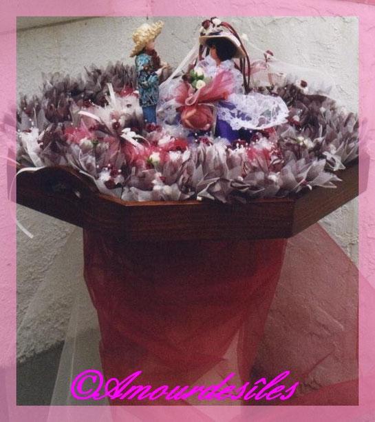 Corbeille de mariage avec le petit couple de poupées Réunionnais et toulousaine avec les dragées dans des tulles