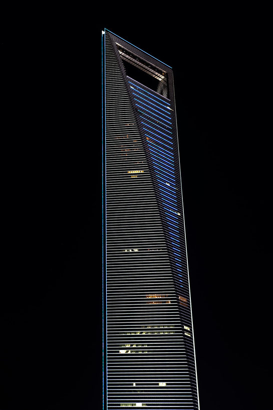 Shanghai World Financial Center Skyscraper at Night Long Exposure Picture, Pudong, China, 1213x1820px