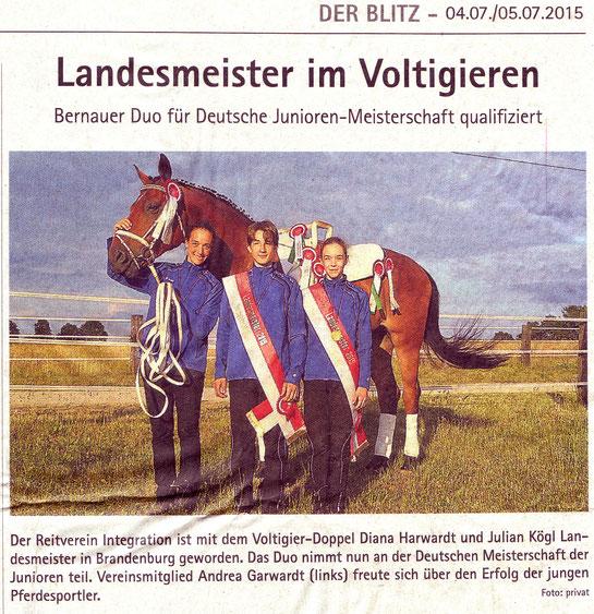 """Das Voltigierduo des RVI wird Landesmeister, erschienen am 04./05.07.2015 in """"Der Blitz"""""""
