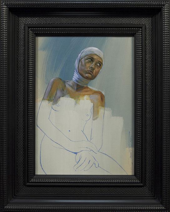 ELLE, à la tête bandée - huile sur toile 33X46