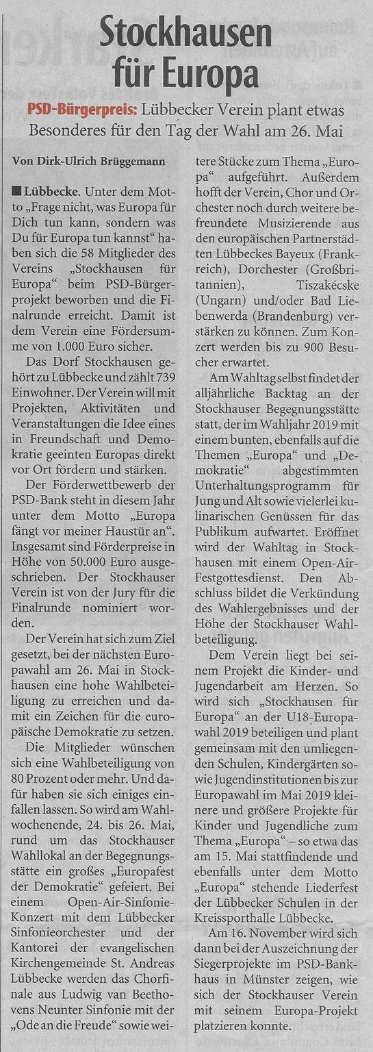 """Artikel zu """"Stockhausen für Europa"""" (Neue Westfälische, überregionale Rubrik """"Zwischen Weser und Rhein"""", 24.09.2018)"""