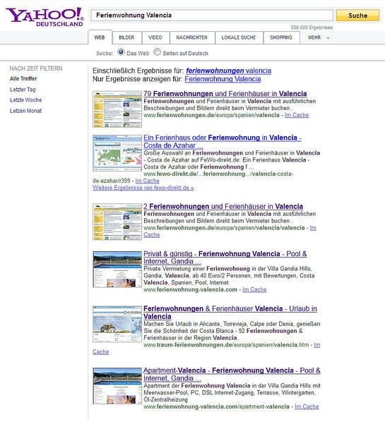 Screenshot vom 01.09.2012 bei www.yahoo.de, Suche: Ferienwohnung Valencia