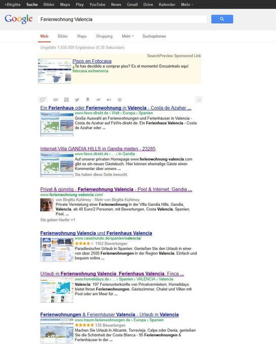 Google Seite 1, Screenshot vom 09.02.2013 bei www.google.de, Suche: Ferienwohnung Valencia