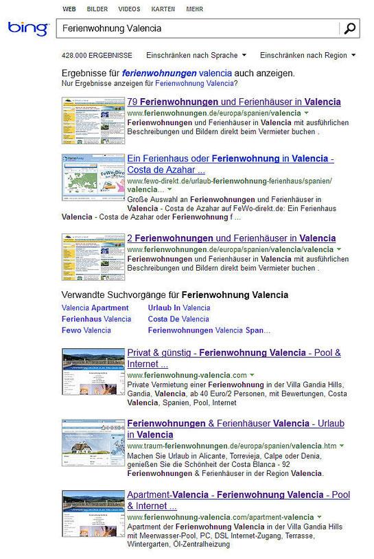 Screenshot vom 01.09.2012 bei www.bing.de, Suche: Ferienwohnung Valencia