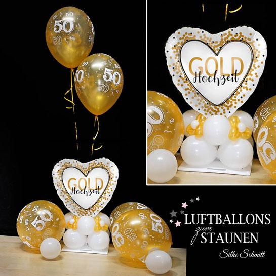 Ballon Luftballon Heliumballon Herz Alles Liebe zur Goldhochzeit goldene Hochzeit 50 Jahre Versand Geschenk Ballonpost Deko Dekoration Tischdeko Mitbringsel Überraschung Paket