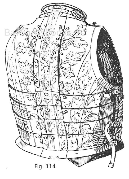 Rücken eines Prunkharnisches, halber Krebs, welchen Erzherzog Ferdinand von Tirol bei seiner Vermählung mit Anna Katharina von Mantua 1583 getragen hatte. Deutsche, vermutlich Tiroler Arbeit, um 1580.