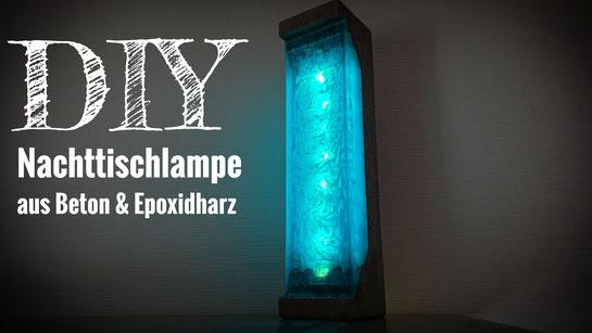 Lampe aus Beton und Epoxidharz
