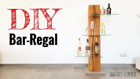 DIY-Anleitung für ein Bar-Regal aus Beton, Holz und Glas
