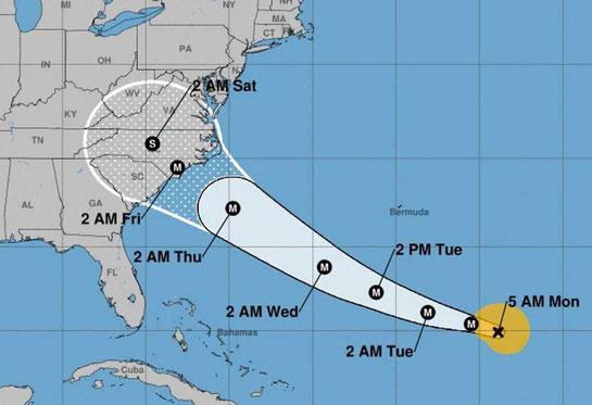 Aktuelle Entwicklung des Hurricane ,,Florence'' // © National Hurricane Center