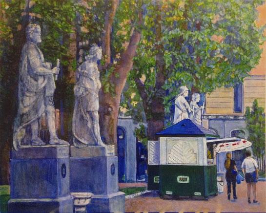 村瀬久代「彫像のある公園」 F100号 油彩