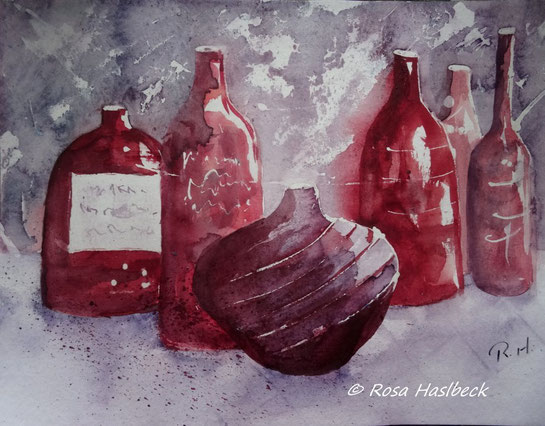 aquarell, stillleben, flasche,flaschen, rot, , bild, handgemalt,  kunst, bild, wanddekoration, geschenkidee, dekoration, wandbild, art, malen, malerei