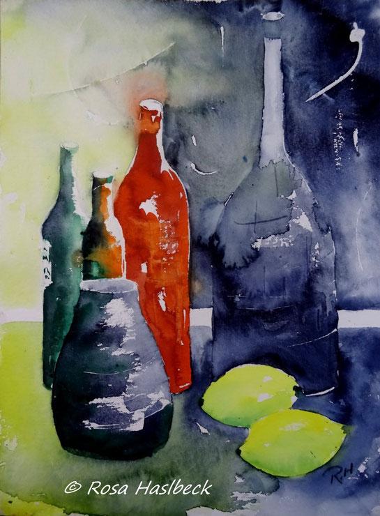 aquarell, stillleben, vase, zitronen, flaschen, kerze, rot, grün,gelb,, blau, , bild, handgemalt,  kunst, bild, wanddekoration, geschenkidee, dekoration, wandbild, art, malen, malerei