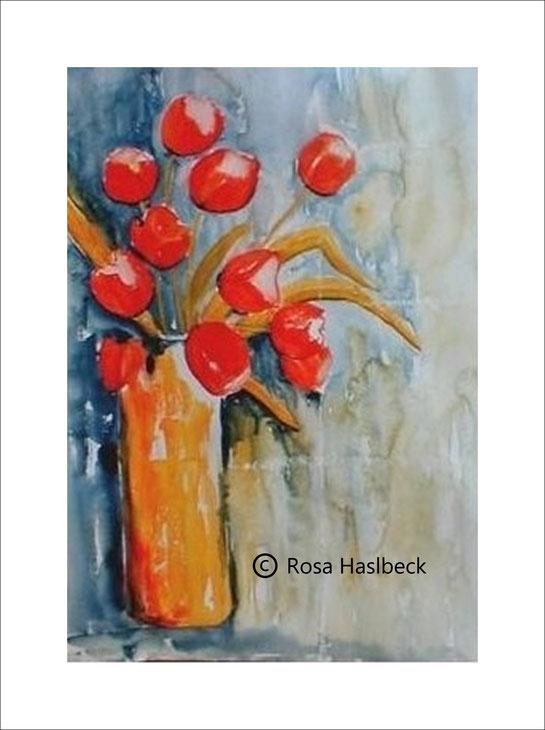 aquarell, tulpenstrauß, tulpen,. blumenstrauß, blumen, vase, bild, kunst, malen, kaufen, rot, gelb, blau, grün