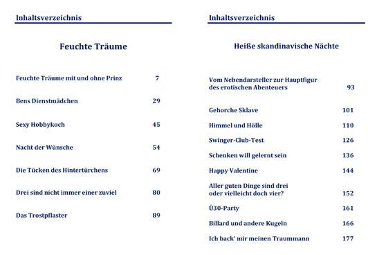 Inhaltsverzeichnis Buch: Heiße skandinavische Nächte inkl. Feuchte Träume von K.D. Michaelis