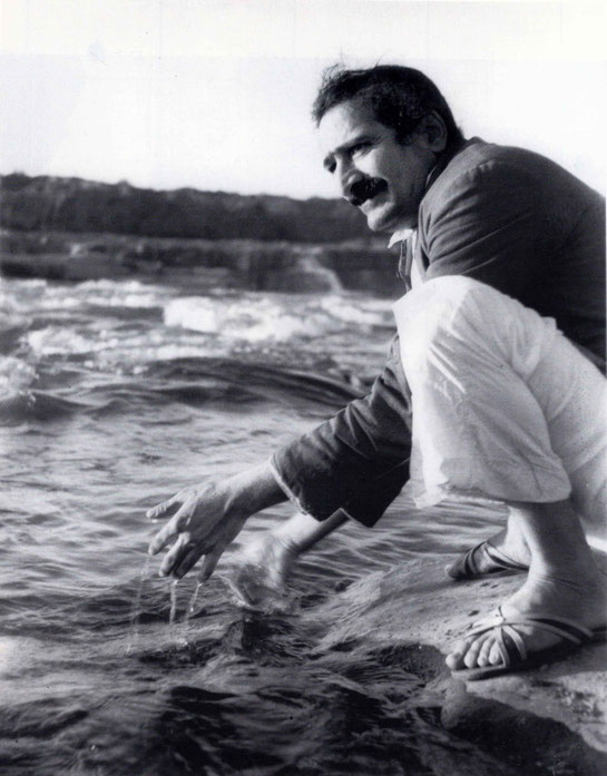 Meher Baba at the Narmada River, Marble Rocks, near Jabalpur, India - 25th Dec. 1938.