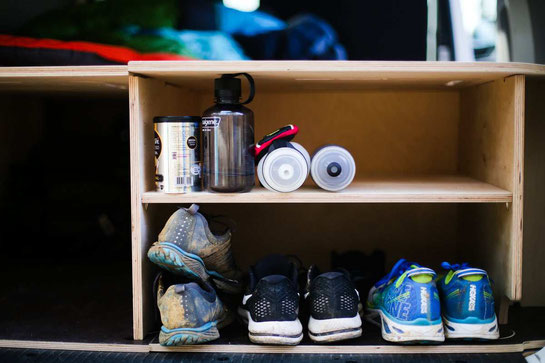Show off your setup - Everyone's got their own organization hacks. Since my partner and I are runners, we use this Camp It Simple niche to store our running shoes--makes them a lot easier to keep track of.
