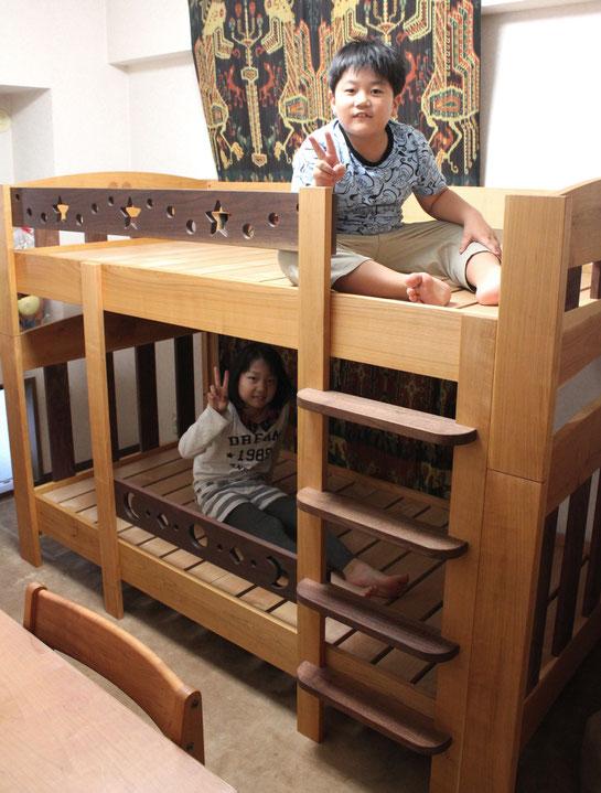 ツートンカラーの楽しい二段ベッド(荒川区・F様邸)記念撮影