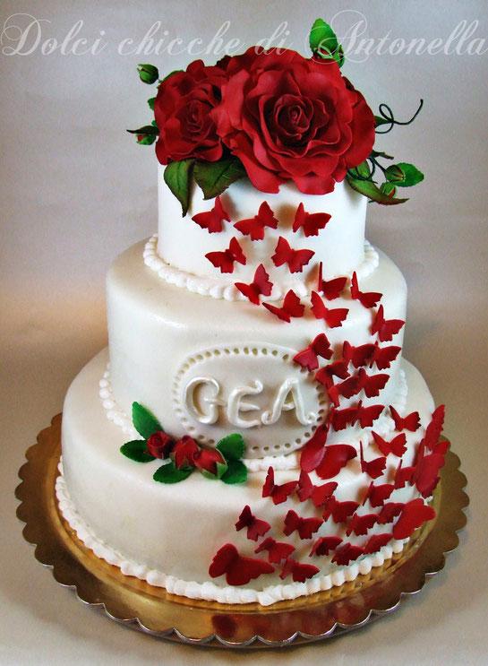wedding cake- torta rose- torta farfalle- torte decorate-la spezia- liguria