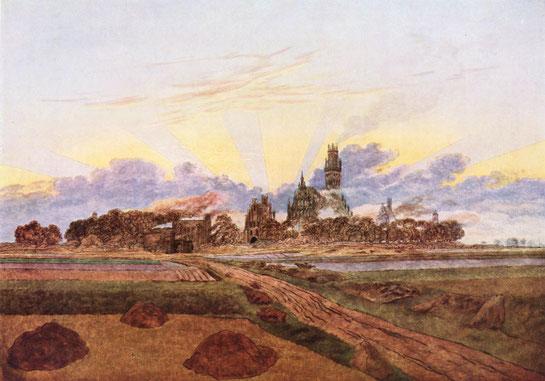 So wie auf dem um 1835 von Caspar David Friedrich gemalten Neubrandenburg kann man sich die städtische Feldmark vorstellen. Sie war unbebaut.