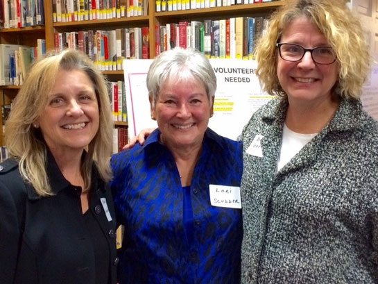 From left, Robin Gunderson, Home Staging Consultant, Design No 5, Lori Scudder, VP of Friends of the Cotuit Library, and Beth Odence, Owner and Designer, Design No 5.