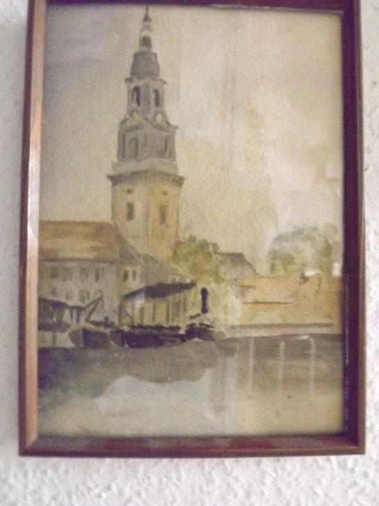 Aquarell aus der Vorkriegszeit zeigt die Potsdamer Heiligkreuz-Kirche. Von bekanntem Potsdamer Künstler.