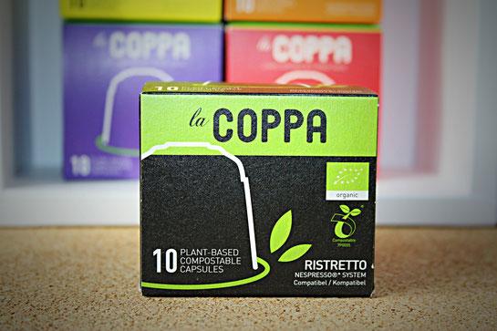 LaCoppa Ristretto - pflanzenbasierte, kompostierbare Kaffeekapseln