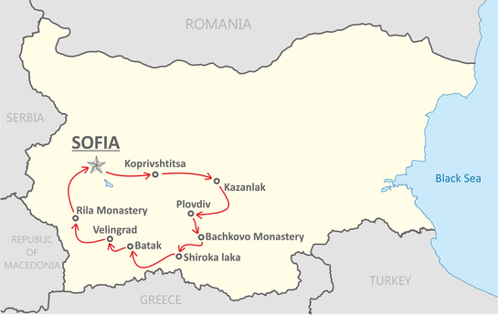 Itinéraire du voyage en Bulgarie