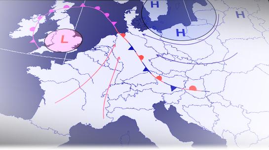 Typische Großwetterlage bei Regen mit Glatteisbildung. | Bild: Welt der Synoptik