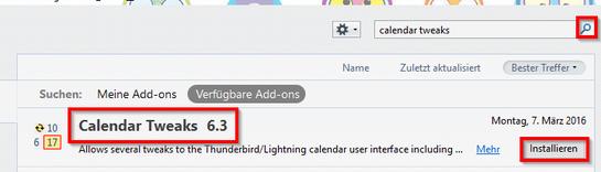 Thunderbird Calendar Tweaks installieren