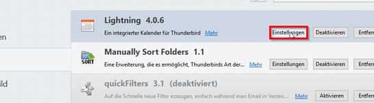 Thunderbird Lightning Einstellungen