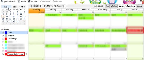 Neuer Kontakt-Geburtstage Kalender