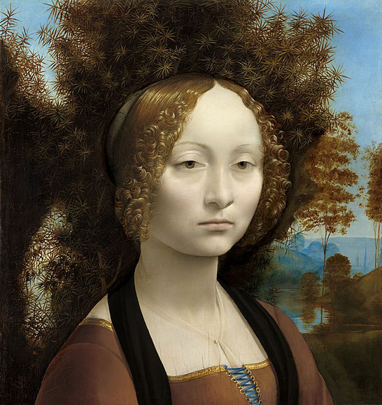レオナルド・ダ・ヴィンチの《ジネーヴラ・デ・ベンチの肖像》1474年 - 1478年頃。Wikipediaより。
