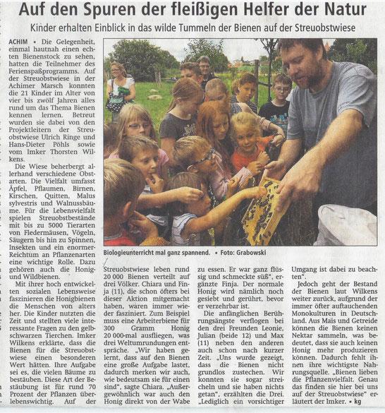 """Presse Artikel Achimer Kreisblatt """"Auf den Spuren der fleißigen Helfer der Natur"""""""