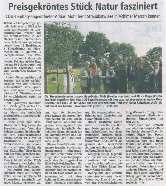 "Presse Artikel Achimer Kreisblatt - ""Preisgekröntes Stück Natur fasziniert"""