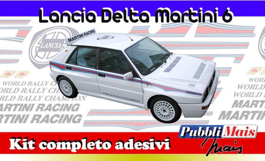 kit completo martini 6 lancia delta evo evoluzione 16v fasce livrea strisce 1992 1992 1993 spedizione sticker decal pubblimais scritte sponsor marchi world rally champion hf