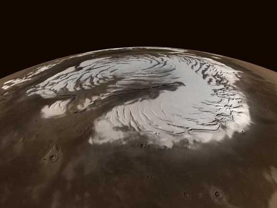 Calotte polaire sur Mars. Source : droits réservés - © 2001 NASA/GSFC/JPL/MOLA Project/Malin Space Science Systems