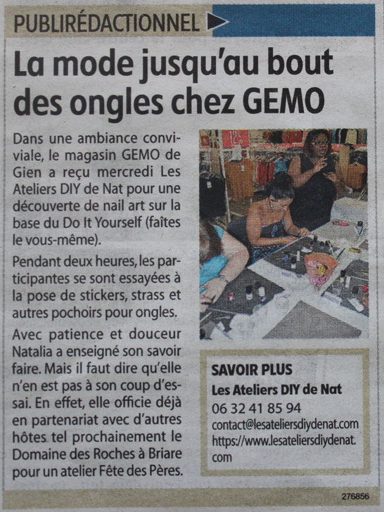 Article de presse : Les Ateliers DIY de Nat