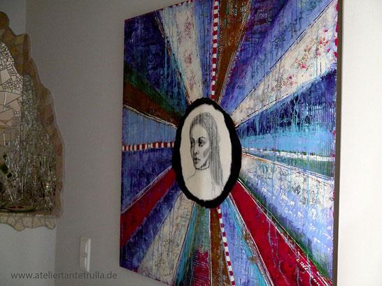 abstraktes gemaelde mit portrait