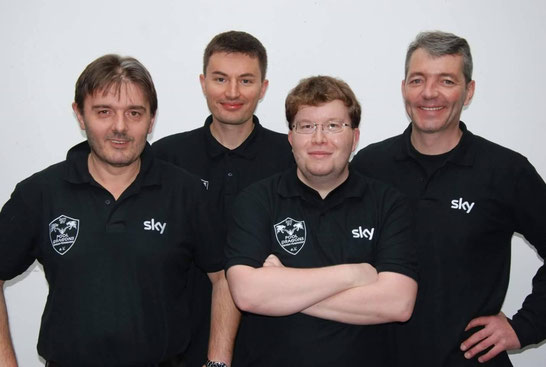 Die Bundesdrachen (v.l. Dragan, Goran, István, Alex