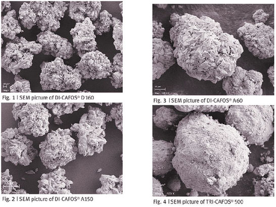 Four microscope pictures of calcium phosphate as pharma excipient