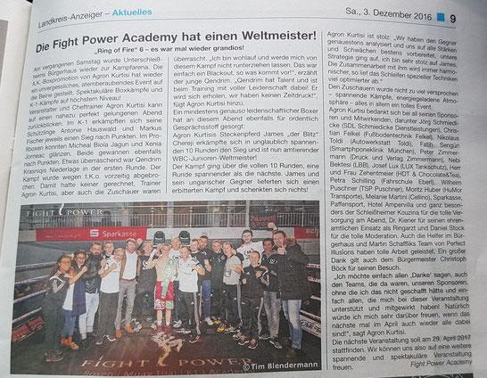Bericht aus dem Lohhofer Anzeiger (03.12.16 - Seite 9), Bild: Tim Blendermann