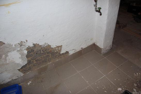 Kellergeschoss: die Innenwände wiesen Schäden durch aufsteigende Feuchte auf.