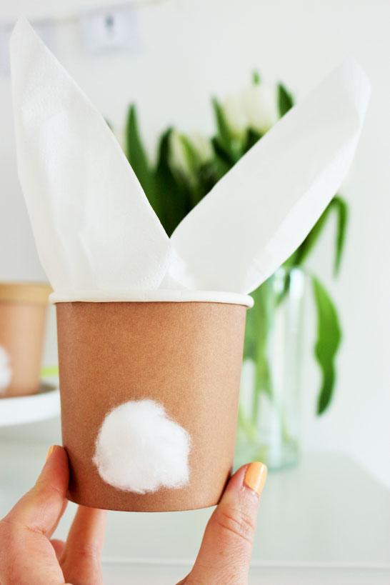 Bild: Osterkorb mal Anders? Mit diesen DIY Alternativen als Ostergeschenk kein Problem! Idee Nr. 10: Pappbecher samt Wattepuschel und Serviette, gefunden auf Partystories.de