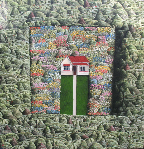 'Bigger Garden' 760 x760mm Oil on canvas.SOLD.
