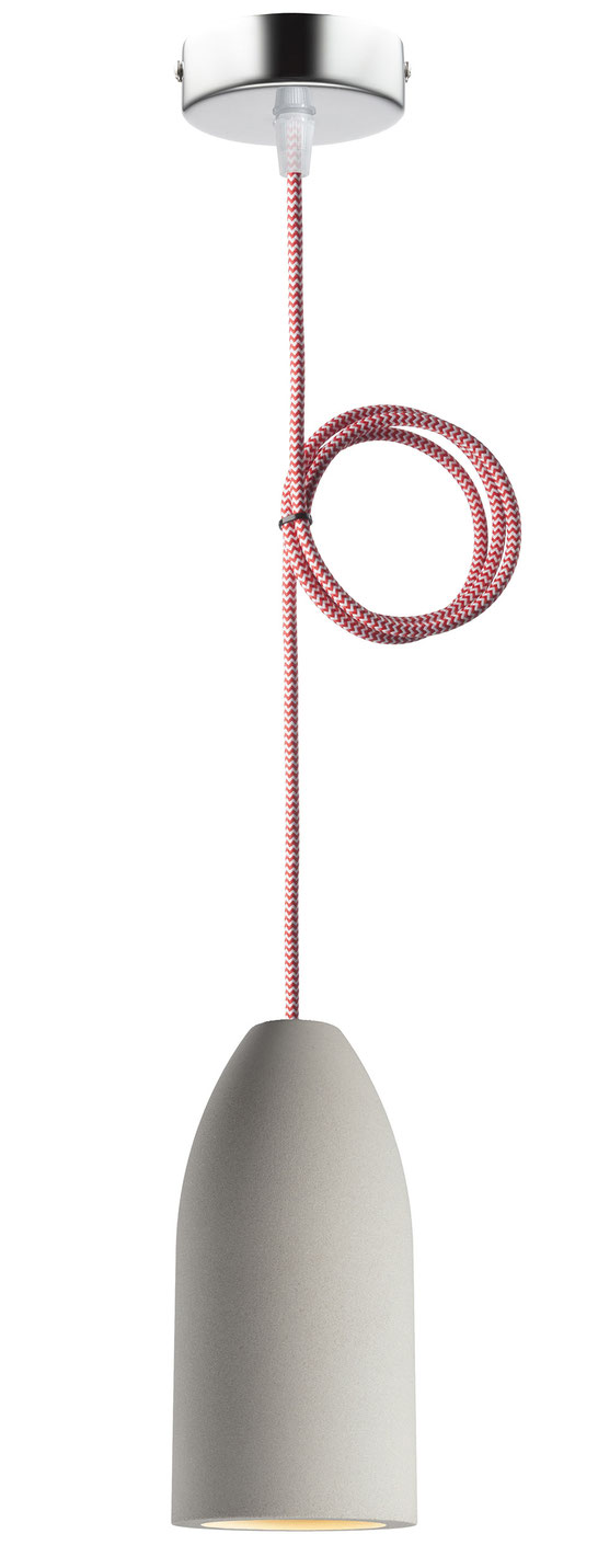 """Betonlampe mit Textilkabel """"Rot-Weiß zickzack"""""""