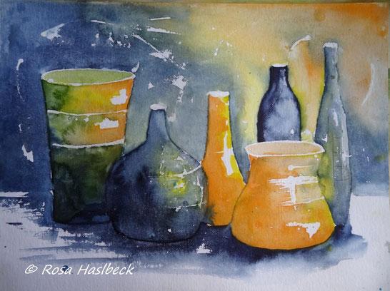 aquarell, stillleben, krüge, krug, flaschen, vase,gelb, blau, , bild, handgemalt,  kunst, bild, wanddekoration, geschenkidee, dekoration, wandbild, art, malen, malerei